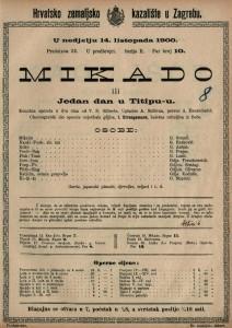 Mikado ili Jedan dan u Titipu-u komična opereta u dva čina od V.S.Gilberta / uglazbio A. Sullivan
