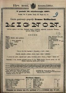 Mignon : lirična opera u tri čina / glazbio Ambroise Thomas