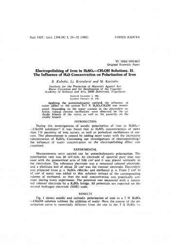 Electropolishing of iron in H2SO4 - CH3OH solutions. II. The influence of H2O concentration on polarization of iron