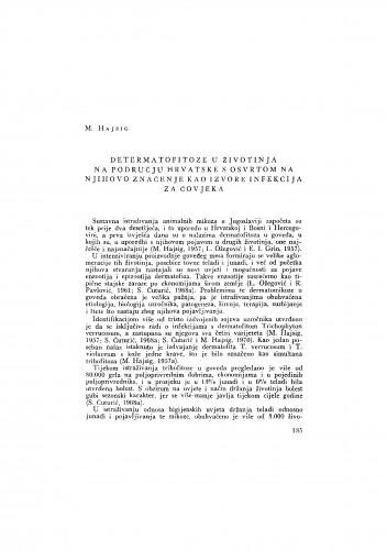 Determatofitoze u životinja na području Hrvatske s osvrtom na njihovo značenje kao izvore infekcija za čovjeka