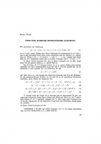 Ueber eine kubische diophantische Gleichung