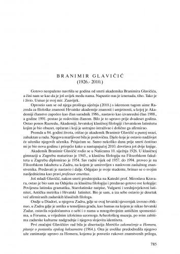Branimir Glavičić (1926.-2010.) : nekrolog : Ljetopis