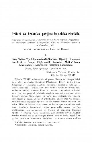 Prilozi za hrvatsku povijest iz arhiva rimskih / Karlo Horvat