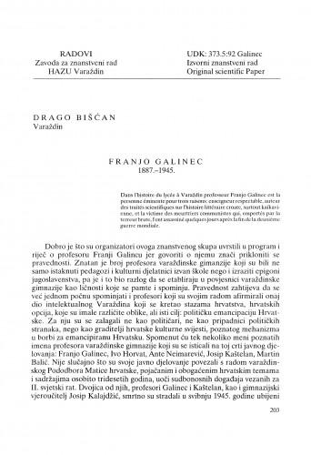 Franjo Galinec : 1887.-1945. : Radovi Zavoda za znanstveni rad Varaždin