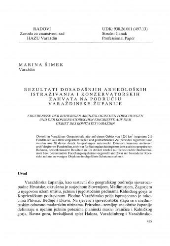 Rezultati dosadašnjih arheoloških istraživanja i konzervatorskih zahvata na području Varaždinske županije : Radovi Zavoda za znanstveni rad Varaždin