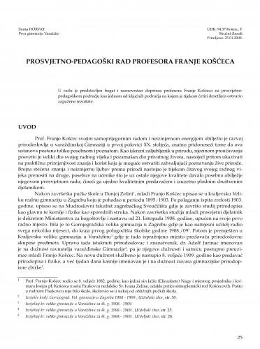 Prosvjetno-pedagoški rad profesora Franje Košćeca
