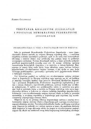 Prestanak Kraljevine Jugoslavije i postanak Demokratske Federativne Jugoslavije