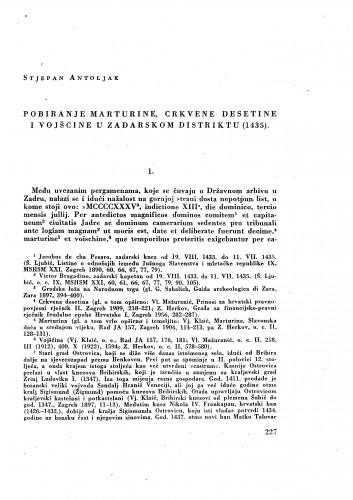 Pobiranje marturine, crkvene desetine i vojšćine u zadarskom distriktu (1435) / Stjepan Antoljak