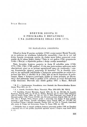 Dnevnik Josipa II o prilikama u Hrvatskoj i na jadranskoj obali god. 1775. / Ivan Erceg
