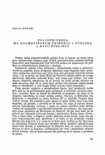 Poljoprivreda na dalmatinskom primorju i otocima u XVIII stoljeću / Grga Novak