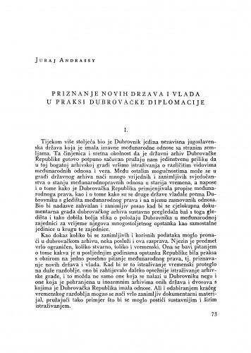 Priznanje novih država i vlada u praksi dubrovačke diplomacije