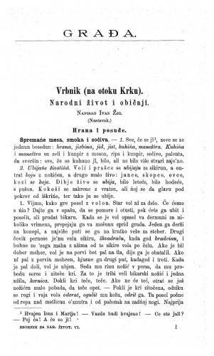 Vrbnik (na otoku Krku) : narodni život i običaji / I. Žic