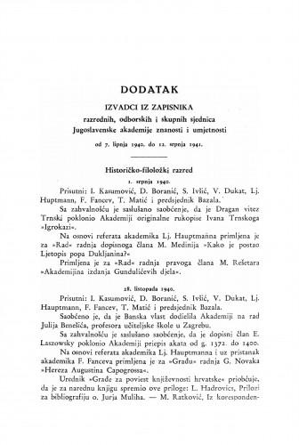 Izvadci iz zapisnika razrednih, odborskih i skupnih sjednica Jugoslavenske akademije : od 7. lipnja 1940. do 12. srpnja. 1941. : Ljetopis