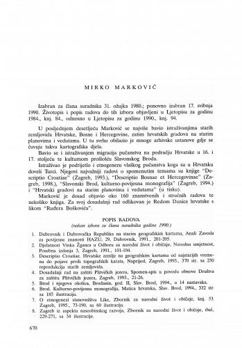 Mirko Marković : Ljetopis