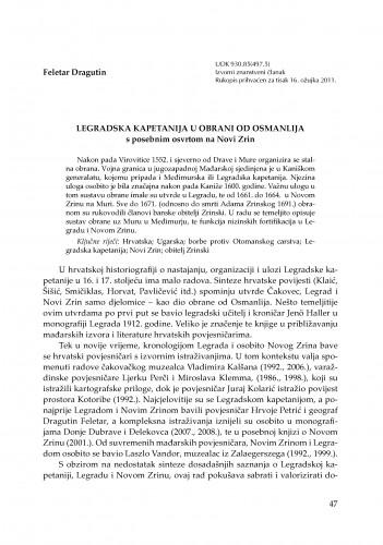 Legradska kapetanija u obrani od Osmanlija - s posebnim osvrtom na Novi Zrin : RAD