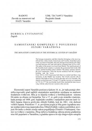Samostanski kompleksi u povijesnoj jezgri Varaždina : Radovi Zavoda za znanstveni rad Varaždin
