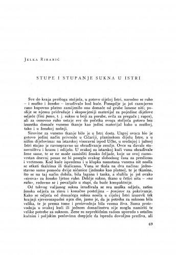 Stupe i stupanje sukna u Istri / J. Ribarić
