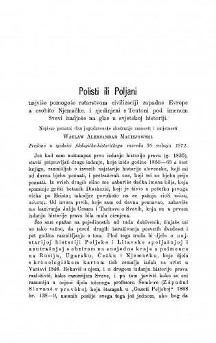 Polisti ili Poljan najviše pomogoše ratarstvom civilizaciji zapadne Evrope a osobito Njemačke i sjedinjeni s Teutoni pod imenom Svevi izadjoše na glas u svjetskoj historiji : RAD
