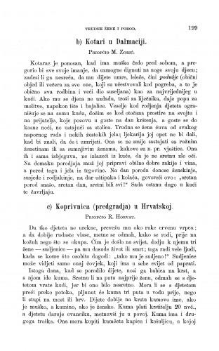 Koprivnica (predgradja) u Hrvatskoj ; Kotari u Dalmaciji : trudne žene i porod : Zbornik za narodni život i običaje