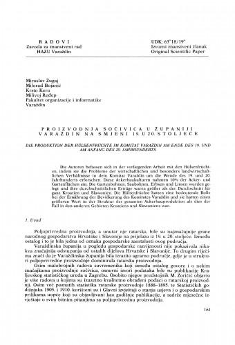 Proizvodnja sočivica u Županiji Varaždin na smjeni 19. u 20. stoljeće : Radovi Zavoda za znanstveni rad Varaždin