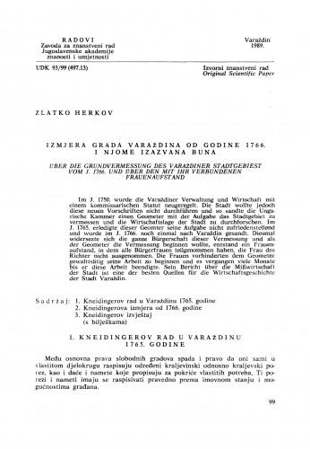 Izmjera grada Varaždina od godine 1766. i njome izazvana buna : Radovi Zavoda za znanstveni rad Varaždin