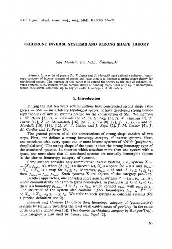 Coherent inverse systems and strong shape theory