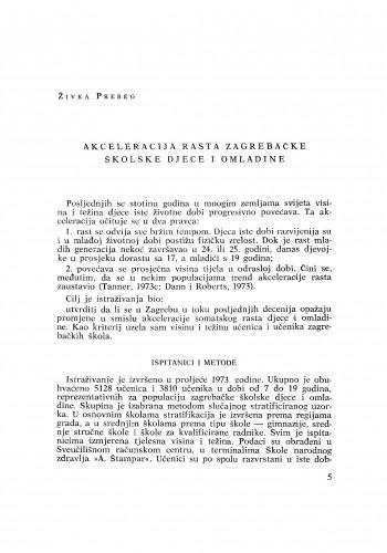 Akceleracije rasta zagrebačke školske djece i omladine