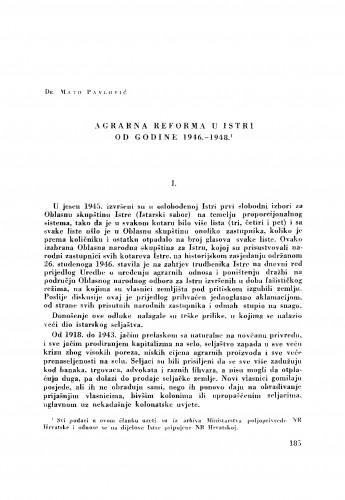 Agrarna reforma u Istri od godine 1946.-1948.