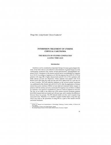 Interferon treatment of uterine cervical carcinoma