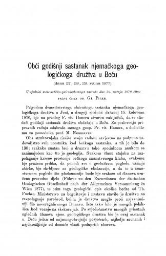 Obći godišnji sastanak njemačkoga geologičkoga družtva u Beču (dana 27., 28., 29. rujna 1877) : RAD