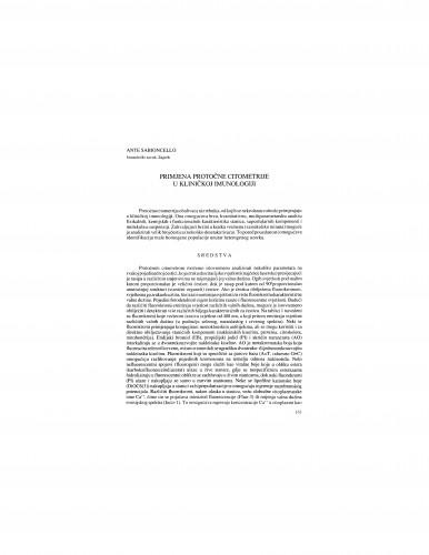 Primjena protočne citometrije u kliničkoj imunologiji