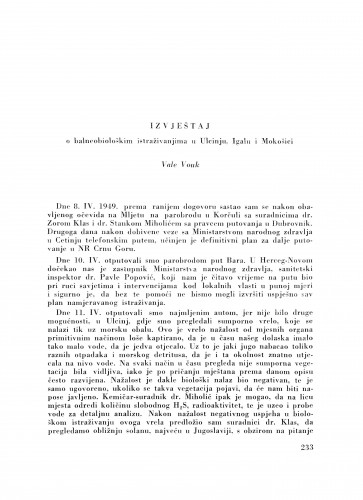 Izvještaj o balneobiološkim istraživanjima u Ulcinju, Igalu i Mokošici / V. Vouk