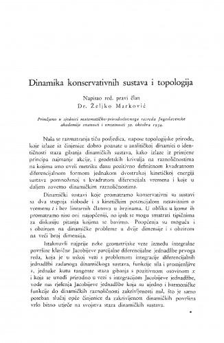 Dinamika konservativnih sustava i topologija