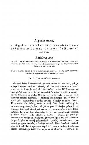 Aigialosaurus, novi gušter iz krednih škriljeva otoka Hvara s obzirom na opisane jur lacertide Komena i Hvara