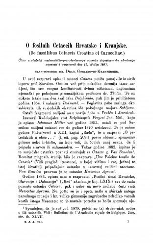 O fosilnih Cetaceih Hrvatske i Kranjske