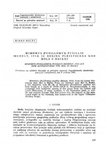 Mimomys (Pusillomys) pusillus (Méhely, 1914) iz donjeg pleistocena kod Mola u Bačkoj