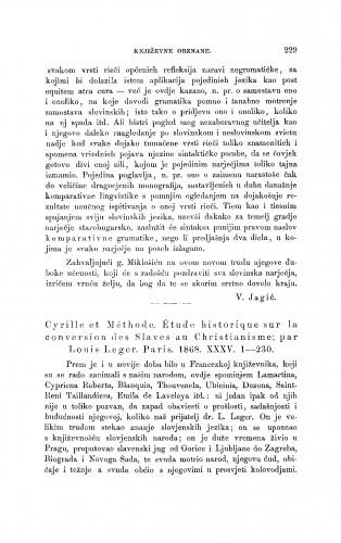 Cyrille et Méthode. Étude historique sur la conversion des Slaves au Christianisme; Par Louis Leger. Paris, 1868 : [književna obznana] : RAD