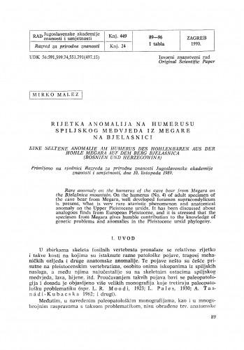Rijetka anomalija na humerusu spiljskog medvjeda iz Megare na Bjelašnici
