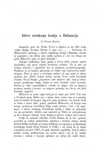 Izbor seoskog kralja u Dalmaciji / P. Bačić