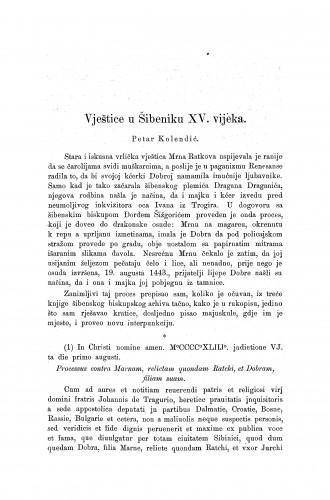 Vještice u Šibeniku  XV. vijeka / P. Kolendić