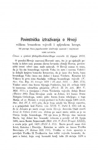 Poviestnička iztraživanja o Hrvoji velikom bosanskom vojvodi i spljetskom hercegu : RAD
