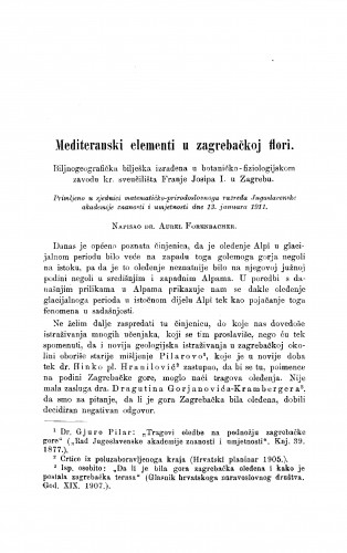Mediteranski elementi u zagrebačkoj flori
