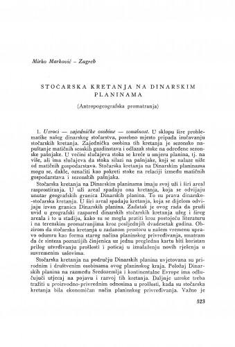 Stočarska kretanja na Dinarskim planinama : (antropogeografska promatranja) / M. Marinković