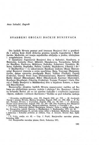Svadbeni običaji bačkih Bunjevaca / A. Sekulić