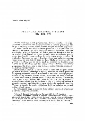 Feudalna desetina u Rijeci : (XIV-XIX. st.) / D. Klen