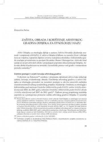 Zaštita, obrada i korištenje arhivskog gradiva Odsjeka za etnologiju HAZU / Klementina Batina
