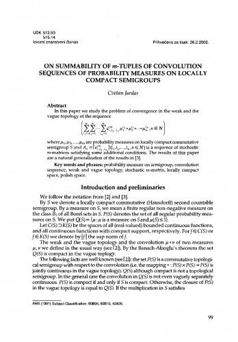 On summability of m-tuples of convolution sequences of probability measures on locally compact semigroups