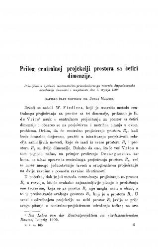 Prilog centralnoj projekciji prostora sa četri dimenzije