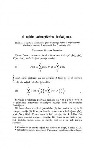 O nekim aritmetičnim funkcijama