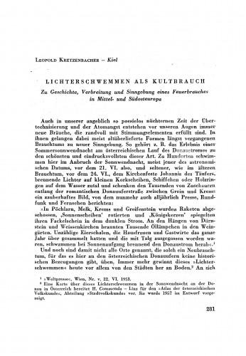 Lichterschwemen als Kulturbrauch / L. Kretzenbacher